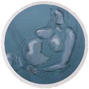 Pregnant Woman II Round Beach Towel
