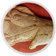 Prehistoric Bison Carving Round Beach Towel