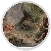 Prehistoric Man: Pottery Round Beach Towel