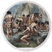 Prehistoric Man: Tools Round Beach Towel