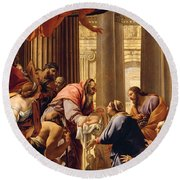 Presentation In The Temple Round Beach Towel by Simon Vouet