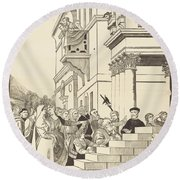 Presentation Of The Virgin In The Temple [center Plate] Round Beach Towel