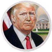 President Donald Trump Art Round Beach Towel