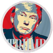 President Donald Trump Hope Poster 2 Round Beach Towel