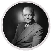 President Dwight Eisenhower Round Beach Towel by War Is Hell Store