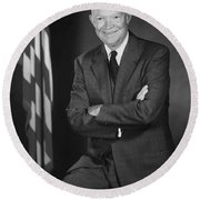 President Eisenhower And The U.s. Flag Round Beach Towel