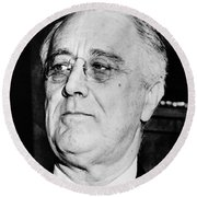 President Franklin Delano Roosevelt Round Beach Towel by War Is Hell Store