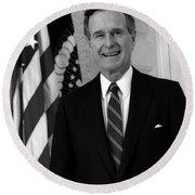 President George Bush Sr Round Beach Towel