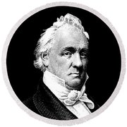 President James Buchanan Graphic Round Beach Towel