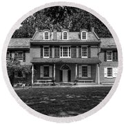 President James Buchanan's Wheatland In Black And White Round Beach Towel