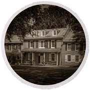 President James Buchanan's Wheatland In Sepia Round Beach Towel