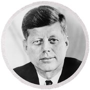 President John F. Kennedy Round Beach Towel by War Is Hell Store