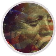 President Kennedy - Digital Art Round Beach Towel