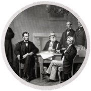 President Lincoln And His Cabinet Round Beach Towel