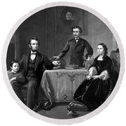 President Lincoln And His Family  Round Beach Towel