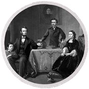 President Lincoln And His Family  Round Beach Towel by War Is Hell Store