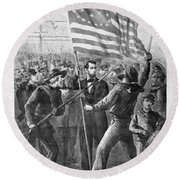 President Lincoln Holding The American Flag Round Beach Towel