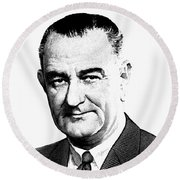 President Lyndon Johnson Graphic - Black And White Round Beach Towel