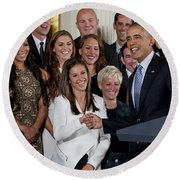 President Obama Honors Us Womens Soccer Team At White House #1 Round Beach Towel