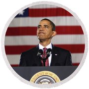 President Obama Round Beach Towel by War Is Hell Store