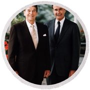 President Reagan And George H.w. Bush - Official Portrait  Round Beach Towel
