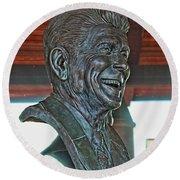 President Reagan Bust Round Beach Towel