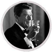 President Reagan Making A Toast Round Beach Towel