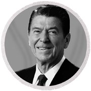 President Reagan Round Beach Towel by War Is Hell Store