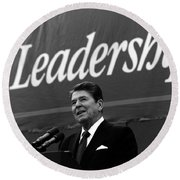 President Ronald Reagan Leadership Photo Round Beach Towel