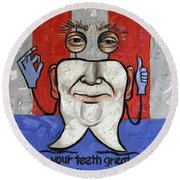 Presidential Tooth 2 Round Beach Towel by Anthony Falbo