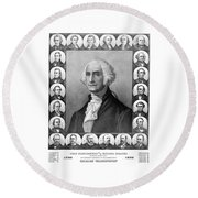 Presidents Of The United States 1789-1889 Round Beach Towel