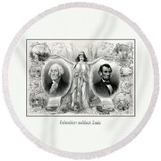 Presidents Washington And Lincoln Round Beach Towel