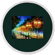 Prespective Of The Night Round Beach Towel