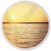 Presque Isle Sunset Round Beach Towel