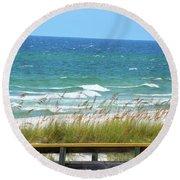 Pretty Blue Gulf Round Beach Towel