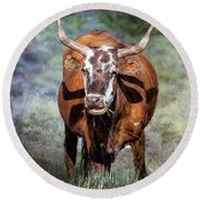 Pretty Female Cow With Horns Round Beach Towel