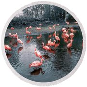 Pretty Flamingoes Round Beach Towel