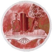 Pretty In Red Round Beach Towel