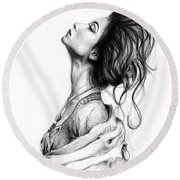 Pretty Lady Round Beach Towel by Olga Shvartsur