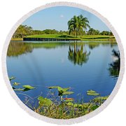 Tranquil Lake In Florida Round Beach Towel