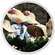 Pretty Little Flower Girls Round Beach Towel