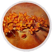 Pretty Little Orange Flowers - Kankaambaram Round Beach Towel