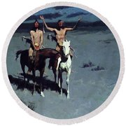 Pretty Mother Of The Night White Otter Is No Longer A Boy 1900 Round Beach Towel