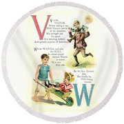 Pretty Name Abc V And W Round Beach Towel