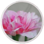 Pretty Pale Pink Parrot Tulip Flower Blossom Round Beach Towel