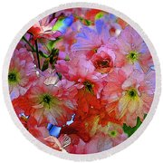 Pretty Petals Round Beach Towel