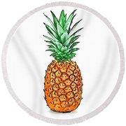 Pretty Pineapple II Round Beach Towel