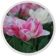 Pretty Pink And White Striped Ruffled Parrot Tulips Round Beach Towel