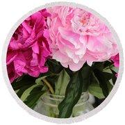 Pretty Pink Peonies In Ball Jar Vase Round Beach Towel