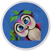Pretty Pinky Owl Round Beach Towel